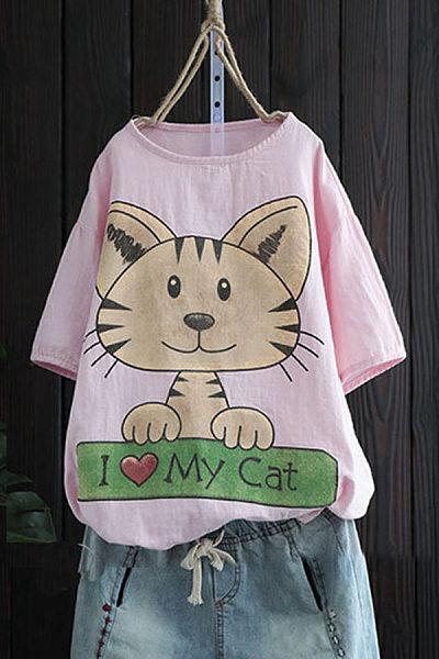 Casual round neck animal print short sleeve t-shirt