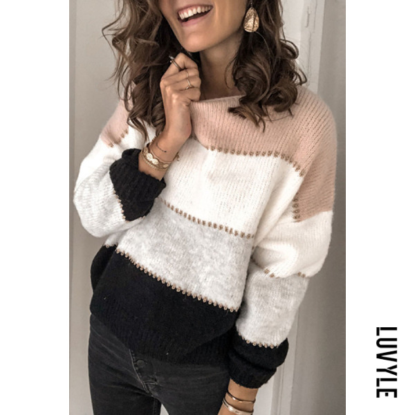 Fashion round neck color matching loose sweater BJ31 - from $30.00