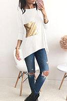 Round Neck  Asymmetric Hem  Glitter  Patchwork T-Shirts