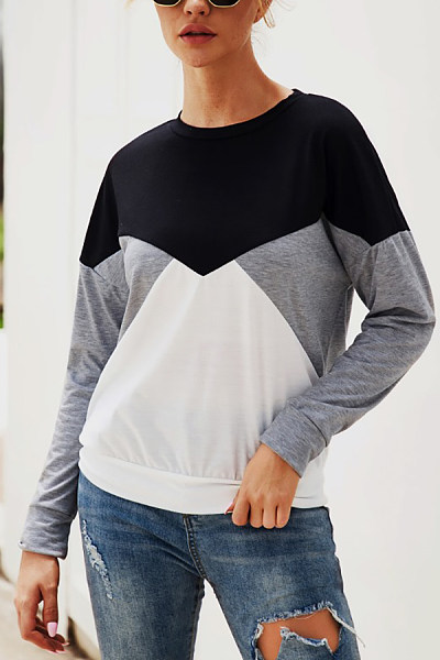 Commuting Contrast Color Splicing T-Shirts