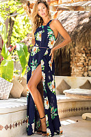 Crew Neck  Side Slit  Floral Printed Maxi Dresses