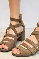 Plain  Chunky  High Heeled  Velvet  Peep Toe  Date Outdoor Sandals
