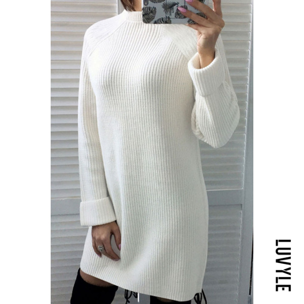 White High Neck Plain Long Sleeve Casual Dresses White High Neck Plain Long Sleeve Casual Dresses