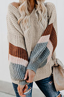 V Neck Striped Lantern Sleeve Sweater