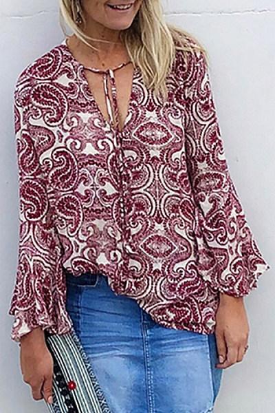Bohemian print long-sleeved belted loose top