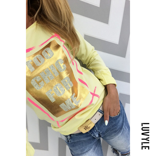 Yellow Round Neck Diamante Letters T-Shirts Yellow Round Neck Diamante Letters T-Shirts