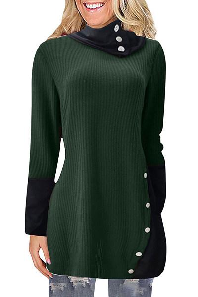 Heap Collar Long Sleeve Colouring Knit Tops