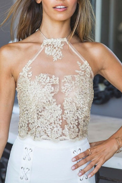 Halter  See Through  Lace Camis