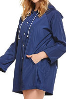 Hooded  Drawstring  Plain Trench Coat