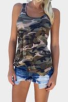Round Neck  Racerback  Camouflage Vests