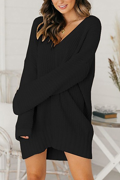 V Neck Loose-Fitting Knit Casual Dress