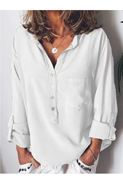 European And American Pure Long-Sleeved Fashion Loose V-Collar Blouses