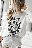Casual Round Collar Printed Sweatshirts
