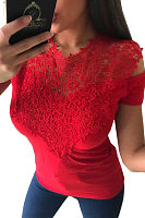 Round Neck  Lace Patchwork Plain T-Shirts