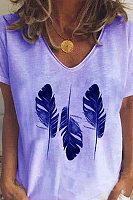 Casual Feather Print Short Sleeve T-shirt