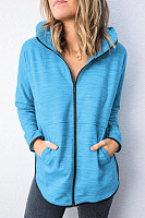 Hooded Plain Long Sleeve Plain Outerwear