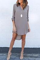 Black Chiffon Asymmetric Hem Plain Shift Casual Dresses