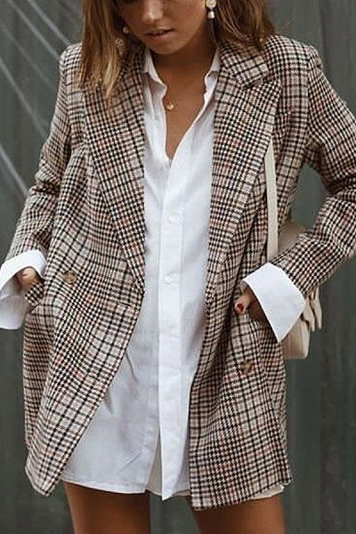 Fashion Notch Lapel Plaid Blazer