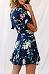 Deep V Neck  Asymmetric Hem  Floral Printed  Short Sleeve Casual Dresses