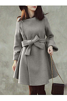 Woolen Plain Belt Pocket Coat
