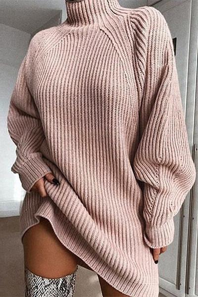 Short High Collar Plain Casual Long Sweater