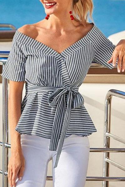 Off Shoulder  Striped  Blouses