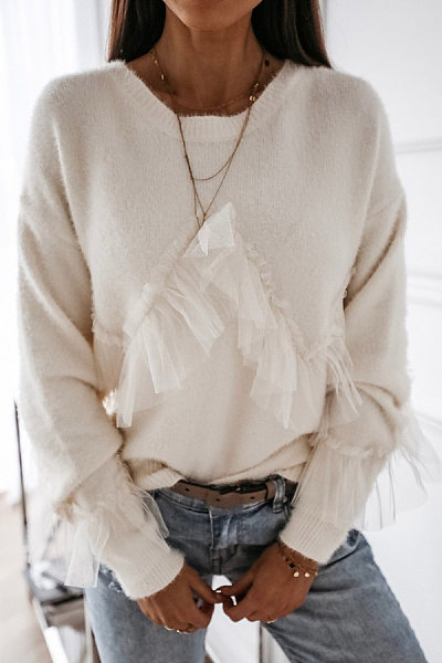 Round Neck Decorative Lace Plain Sweater