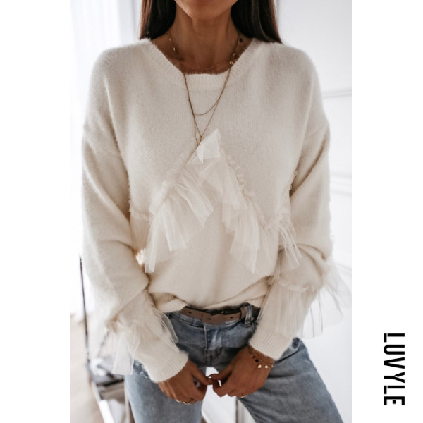 Round Neck Decorative Lace Plain Sweater - from $27.00