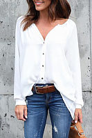 V Neck  Asymmetric Hem Single Breasted  Plain Shirts