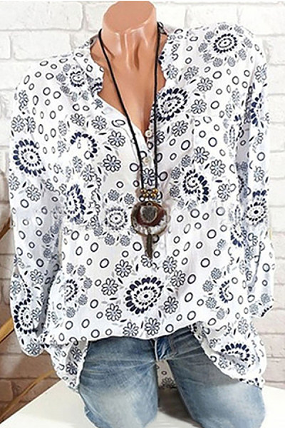 Casual V-Neck Single-Breasted Floral Print Long-Sleeved Loose Shirt