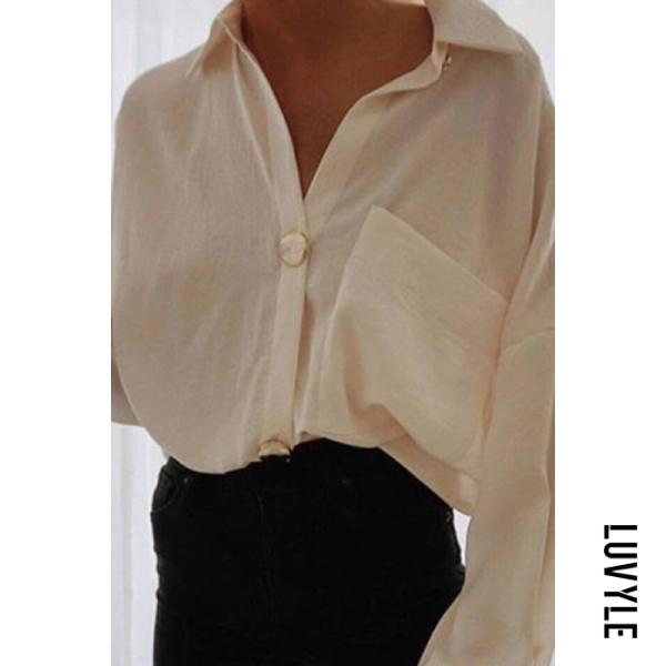Ladies Elegant Commuter Solid Color Long Sleeve Blouse