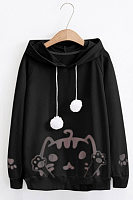 Women's casual long-sleeved printed hooded sweatshirt