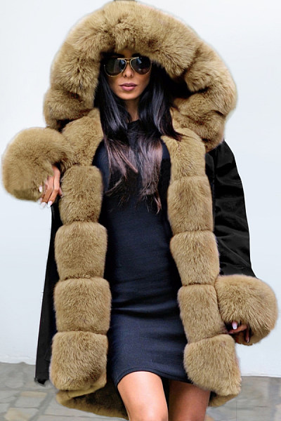 Fashion Noble Temperament Stitching Imitation Mane Fluffy Coat