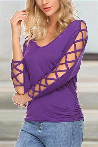 v-neck long-sleeved solid color T-shirt