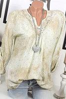 Womens V-neck Print Lace Long Sleeve Blouse