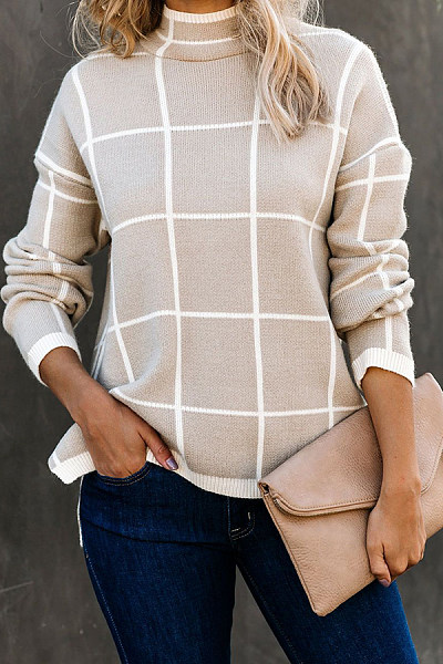 Casual plaid high collar driving female sweater