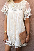 Bohemian crew neck lace short sleeve dress