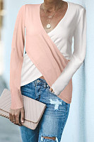 V Neck  Asymmetric Hem  Patchwork T-Shirts
