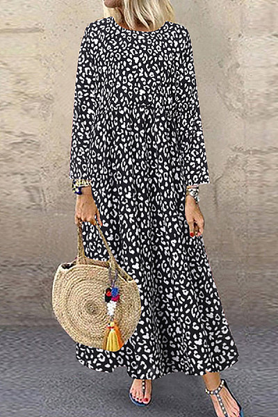 Round Neck Long Sleeve Leopard Maxi Dress