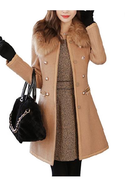 Faux Fur Collar Decorative Button Plain Woolen Coat