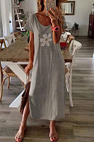Round Neck Short Sleeve Flower Maxi Dress