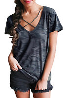 V Neck  Lace Up  Camouflage T-Shirts