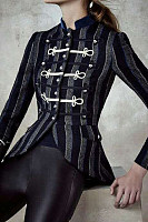Band Collar  Single Breasted  Striped Outerwear