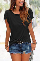 Round Neck  Fringe  Plain T-Shirts
