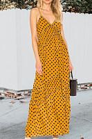 Spaghetti Strap  Patchwork  Dot  Sleeveless Maxi Dresses