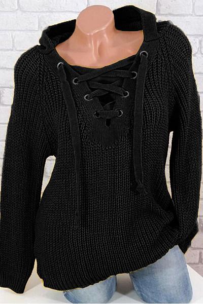 Hooded Long Sleeve Plain Sweater