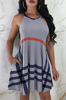 Round Neck  Asymmetric Hem  Gingham  Sleeveless Skater Dresses