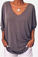 V Neck Batwing Sleeve T-Shirts