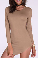 Khaki Pullover Curved Hem Bodycon Fit Dress