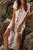 White V Neck Side Slit Embroidery Short Sleeve Cover Ups